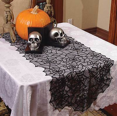 """Haunted House Gothic Black LACE SPIDER WEB TABLE RUNNER Halloween Decoration-80"""""""