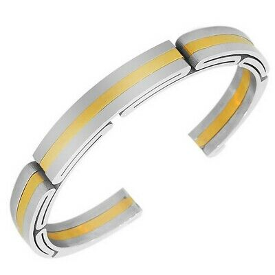 Stainless Steel Yellow Gold Silver Two-Tone Womens Mens Open End Bangle Bracelet