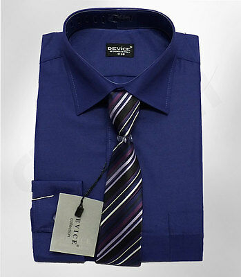 Boys Navy Blue Formal Shirt And Tie Set Wedding Prom Device Suit Shirts