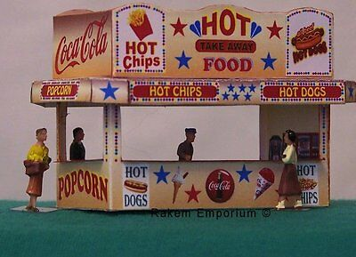 HO Scale Carnival Hot Food Stand 3D Model Railway Building Kit - REHF1