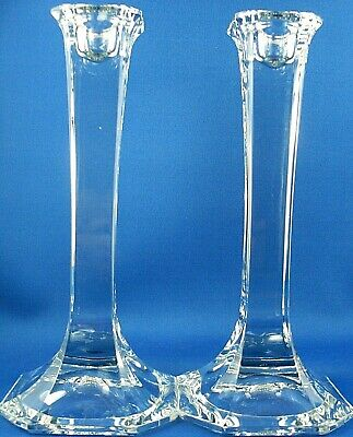 MIKASA CRYSTAL (2 Pc) Tall Square DINNER CANDLE HOLDER VG Collectable In Aust