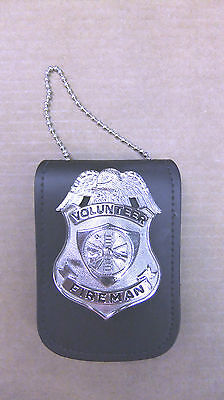 Police Badge & ID Universal Holder Wear Around Neck or on Pants Belt Leather