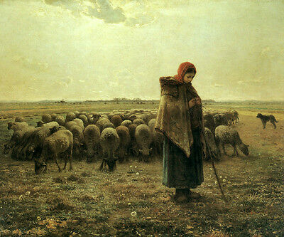 Wonderful Oil painting shepherdess young girl with her sheep in field - Miller