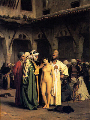 Wonderful Oil painting Slave Market Traffickers with nude young girl in market