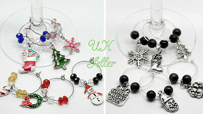 6 x Christmas Wine Glass Charms gift boxed table decorations