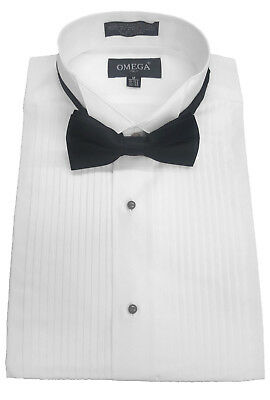 "NEW Tuxedo Shirt Wing collar all sizes 1/4"" pleat"