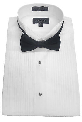 "NWT Omega Wing collar Tuxedo Dress Shirt w/ Bowtie,1/4"" pleat&Convertible Cuffs"