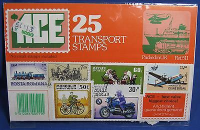 ACE 25 Transport Motorcycle Stamps Worldwide Postage Packed in UK Unopened 511