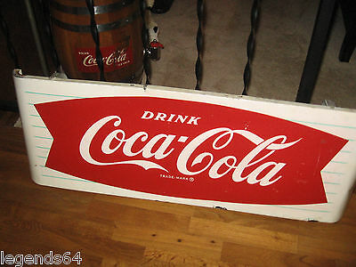 VINTAGE COCA COLA FISHTAIL SLED SIGN WITH ORIGINAL HANGER