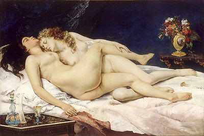Nice Oil painting nude strong man and nude nice girl - romantic lovers sleeping