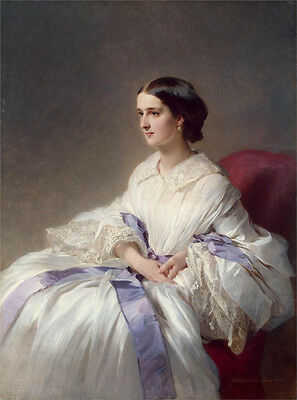 Wonderful Oil painting beautiful young noblelady in white dress by Winterhalter