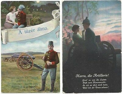 LOT 2 VINTAGE WORLD WAR I POSTCARDS SOLDIERS GERMAN HUNGARIAN