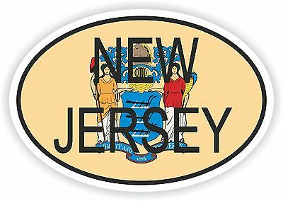 New Jersey STATE OVAL WITH FLAG STICKER USA UNITED STATES bumper decal car