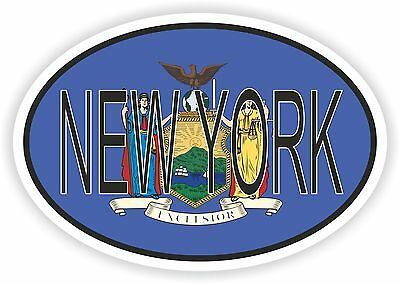 New York STATE OVAL WITH FLAG STICKER USA UNITED STATES bumper decal car
