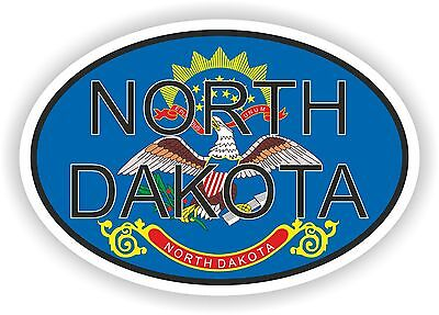 North Dakota STATE OVAL WITH FLAG STICKER USA UNITED STATES bumper decal car