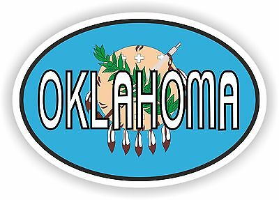 Oklahoma STATE OVAL WITH FLAG STICKER USA UNITED STATES bumper decal car