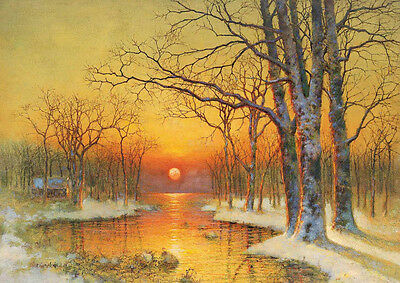 Oil painting sunrise landscape in winter morning tree along the river no framed
