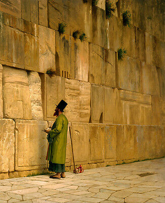 Oil painting A prayer standing before the Jerusalem's Wailing Wall on canvas art