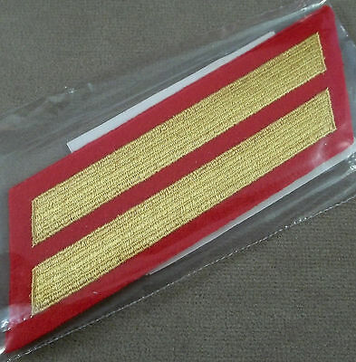 US Marine Corps Male Service Stripes 8 Years - Gold On Scarlet - New Pair