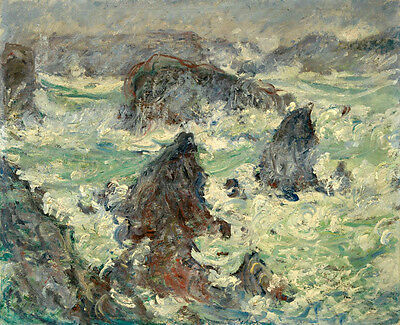 Art Oil painting Monet - Seascape Storm or windstorm with ocean waves rocks