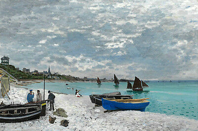 Art Oil painting Monet - Seascape Beach or sea beach with sail boats canoe