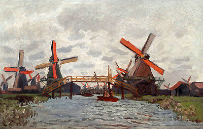 Art Oil painting Monet - Impression landscape Windmill nearby river canvas