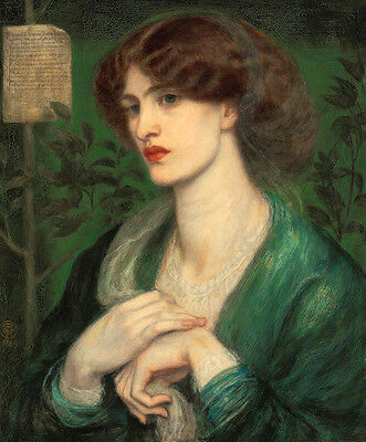 Oil painting Rossetti  - Young lady Beatrice's greeting in landscape canvas