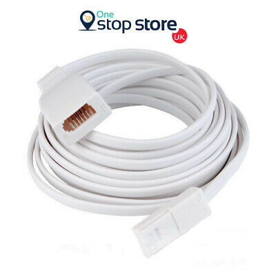 10M Telephone Extension Fax Cable Lead Cord Phone Modem White BT Sky UK 10 Meter