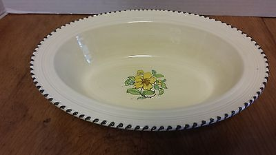 """Crown Ducal Oval serving Bowl 10"""", A3122 Yellow Flower Brown tip edge Art Deco"""