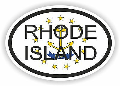 RHODE ISLAND STATE OVAL WITH FLAG STICKER USA UNITED STATES bumper decal car
