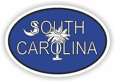 SOUTH CAROLINA STATE OVAL WITH FLAG STICKER USA UNITED STATES bumper decal car