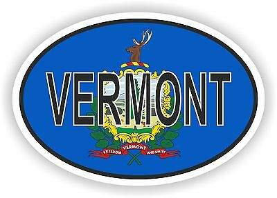 VERMONT STATE OVAL WITH FLAG STICKER USA UNITED STATES bumper decal car