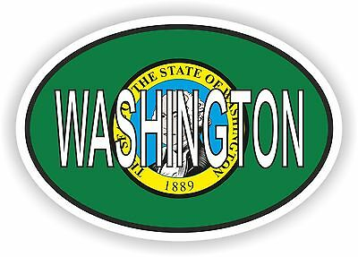 WASHINGTON STATE OVAL WITH FLAG STICKER USA UNITED STATES bumper decal car