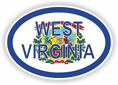 WEST VIRGINIA STATE OVAL WITH FLAG STICKER USA UNITED STATES bumper decal car