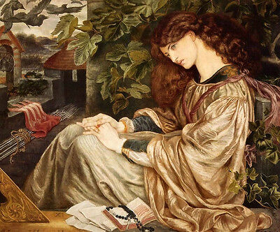 Huge Oil painting Rossetti  - Young beautiful girl seated only canvas
