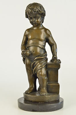 Signed Real Bronze Statue Young Boy Cherub Sculpture Statue Art Noveau Figurine
