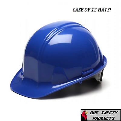 (12 Hats) Pyramex Cap Style Safety Hard Hat Blue 4 Point Ratchet Construction