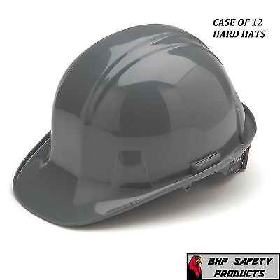 Pyramex Cap Style Safety Hard Hat Gray 4 Point W/ Ratchet Construction (12 Hats)