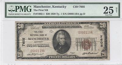 $20 Nat'l Currency 1929 Ty1, Ch7605, First NB, Manchester, KY, PMG VF25 Net