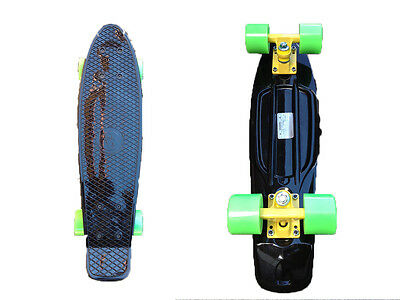 FISH Mini Cruiser Skateboard Banana Board Old School 70s Black Deck Lime Green