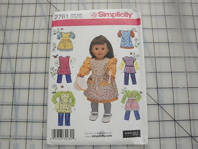 """Simplicity Pattern #2761-Doll Clothes and Aprons for 18"""" Doll"""