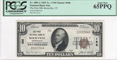 $10 Nat'l Currency, 1929 Ty 1, CH186, First NB Rockville, CT, PCGS Gem New 65PPQ