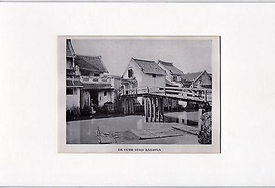Antique matted print :houses town Batavia Java Indonesia 1928