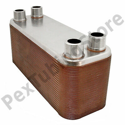 "40-Plate 4-1/4"" x 12"" Brazed Plate Heat Exchanger, 1"" MPT Ports, 316L St. Steel"