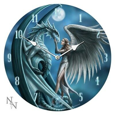 Anne Stokes Silver Back Bedroom Wall Clock Round Gothic Dragon Fairy Moon