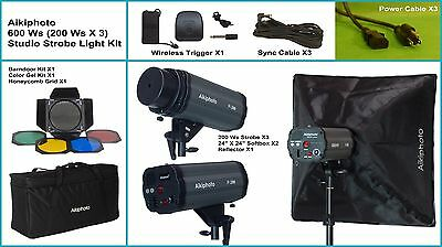 NEW Professional Quality 600W/S (200W/S X 3) Total Studio Strobe Light Kit