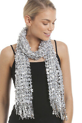Central Chic Sparkly Scarf Silver Sequin Scarf Scarf Party Shawl Gold Red