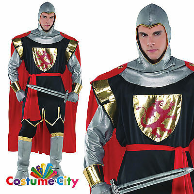 Adult Mens Medieval Brave Crusader Knight Soldier Fancy Dress Halloween Costume