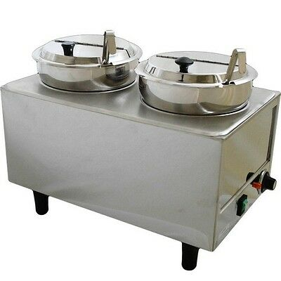 Dual-Well Countertop Food Warmer, Commercial Soup Chili & Chese Condiment Server