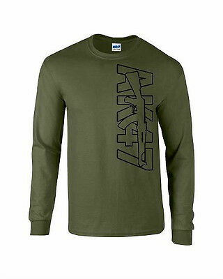 AK-47 T-Shirt Long Sleeve Out Line colors Military all Size 100% cotton